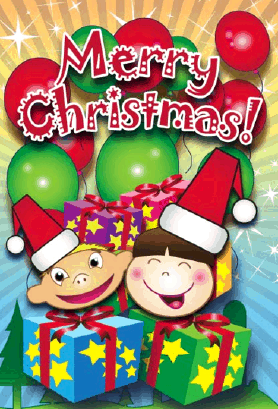 Kids and Gifts Christmas Card Greeting Card