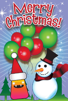 Merry Christmas Balloons Card Greeting Card