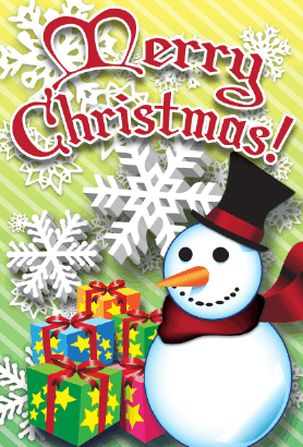 Merry Christmas Frosty Snowman Card Greeting Card
