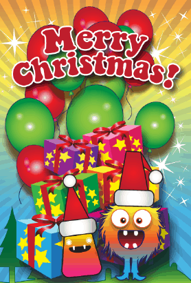Merry Christmas Monster Card Greeting Card