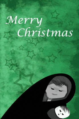 Merry Christmas Mother and Child Card Greeting Card