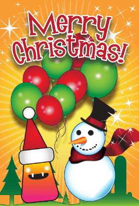 Merry Christmas Snowman Card Greeting Card