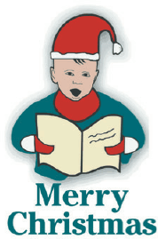 Christmas Card with Caroler (small) Greeting Card