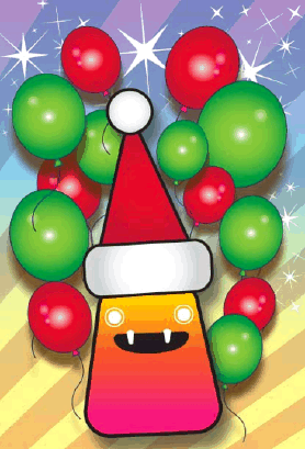Monster and Balloons Christmas Card Greeting Card