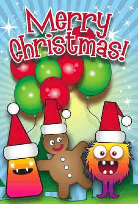 Monsters Balloons Gingerbread Christmas Card Greeting Card