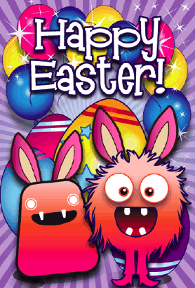Monsters Easter Card Greeting Card
