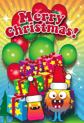 Monsters Gifts Balloons Christmas Card Greeting Card