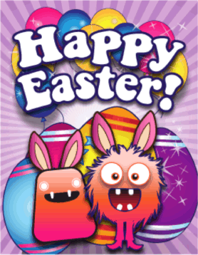 Monsters Small Easter Card Greeting Card