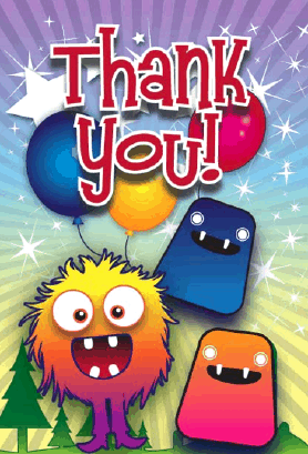 Monsters Thank You Card Greeting Card