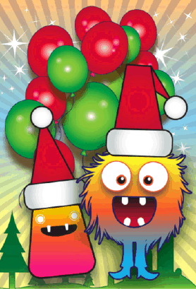Monsters and Balloons Christmas Card Greeting Card