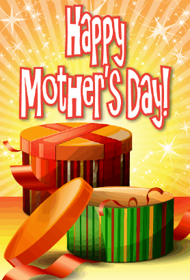 Orange and Green Boxes Mother's Day Card Greeting Card