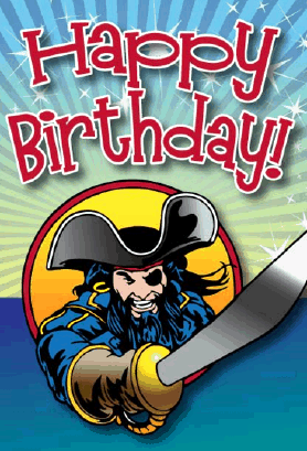 Pirate with Sword Birthday Card Greeting Card