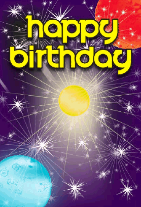 Planets in Space Birthday Card Greeting Card