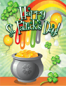 Pot of Gold Small St Patrick's Day Card Greeting Card