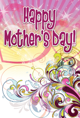 Purple Swirls Mother's Day Card Greeting Card