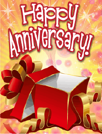 Red Gift Box Opened Small Anniversary Card Greeting Card