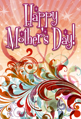 Red Swirls Mother's Day Card Greeting Card