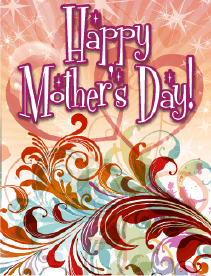 Red Swirls Small Mother's Day Card Greeting Card