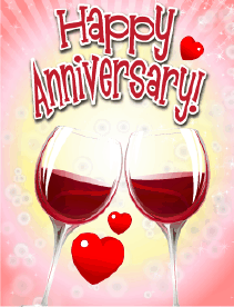 Red Wine Small Anniversary Card Greeting Card