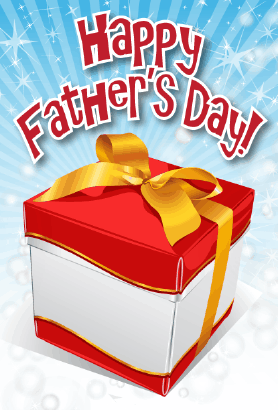 Red and White Gift Father's Day Card Greeting Card