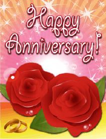 Roses and Rings Small Anniversary Card Greeting Card