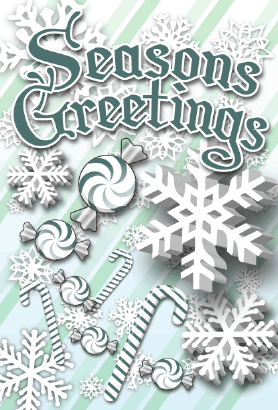 Seasons Greetings Candycanes Card Greeting Card