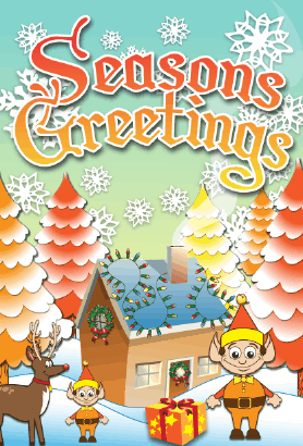 Seasons Greetings Winter House Card Greeting Card
