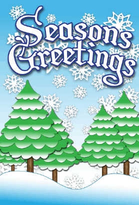 Seasons Greetings Winter Trees Card Greeting Card