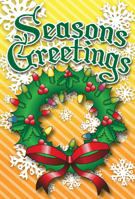 Seasons Greetings Wreath Card Greeting Card