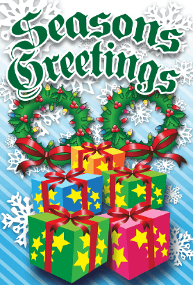 Seasons Greetings Wreaths Card Greeting Card