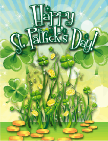 Shamrocks Small St Patrick's Day Card Greeting Card