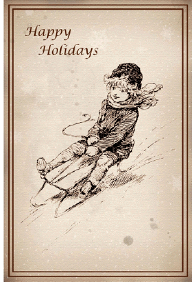 Sledding Happy Holidays Card Greeting Card
