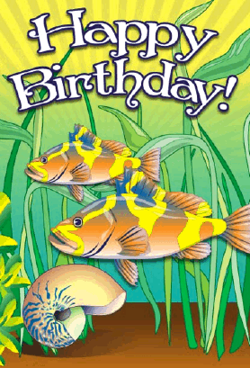 Snail and Fish Birthday Card Greeting Card