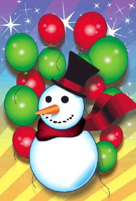 Snowman and Balloons Christmas Card Greeting Card