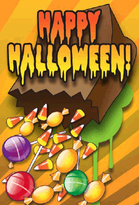 Spilled Bag of Candy Halloween Card Greeting Card