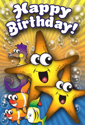 Starfish Fish Seahorse Birthday Card Greeting Card