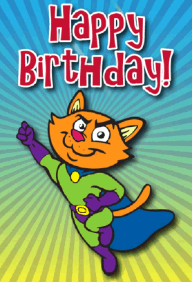 Superhero Cat Birthday Card Greeting Card