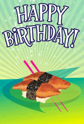 Sushi Unagi Birthday Card Greeting Card