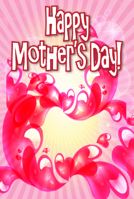 Swirling Red Hearts Mother's Day Card Greeting Card
