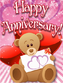 Teddy Bear with Hearts Small Anniversary Card Greeting Card