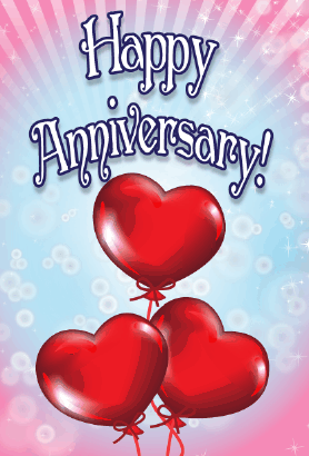 Three Heart Balloons Anniversary Card Greeting Card