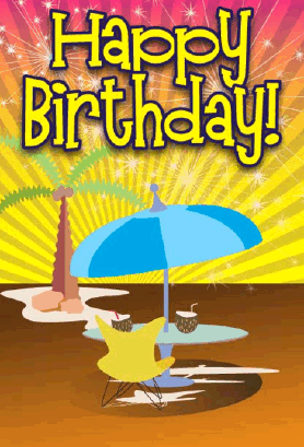 Tropical Umbrella Birthday Card Greeting Card