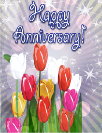 Tulips Small Anniversary Card Greeting Card
