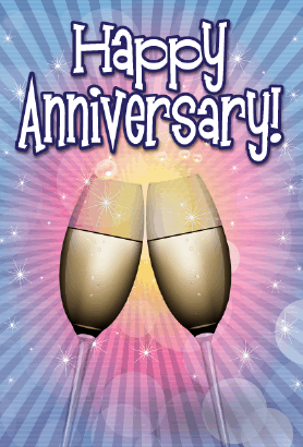 Two Champagne Flutes Anniversary Card Greeting Card