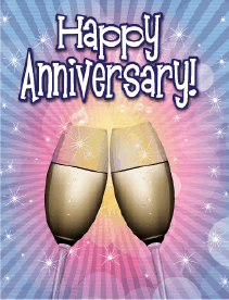 Two Champagne Flutes Small Anniversary Card Greeting Card