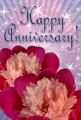 Two Flowers Anniversary Card Greeting Card