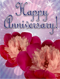 Two Flowers Small Anniversary Card Greeting Card