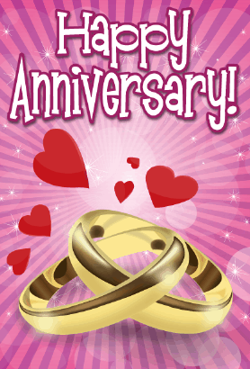 Two Rings Anniversary Card Greeting Card