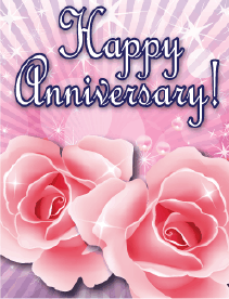 Two Roses Small Anniversary Card Greeting Card