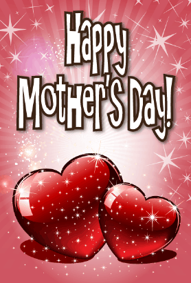 Two Sparkling Hearts Mother's Day Card Greeting Card